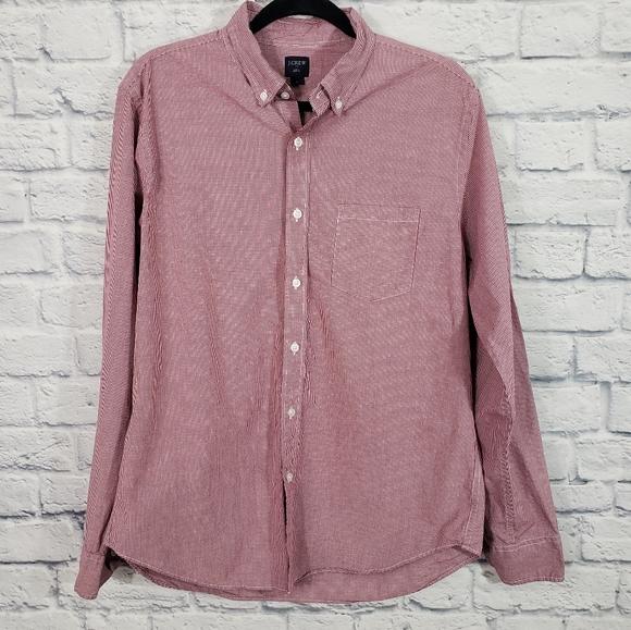 J crew microgingham button up shirt L